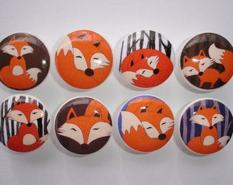 Woodland Fox Dresser Drawer Knobs Set of 8