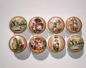 Alice in Wonderland Dresser Drawer Knobs--Set of 8