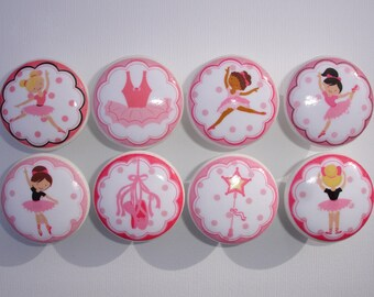 Pink Ballet Ballerina  Dance Dresser Drawer Knobs Set of 8