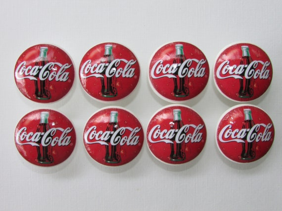 Coca Cola Coke Vintage Ad Prints Cabinet Dresser Drawer Knobs Pulls