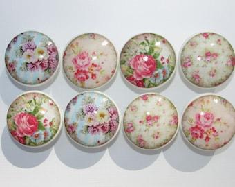 Set of 8 Vintage Pink Rose Dresser Drawer Knobs