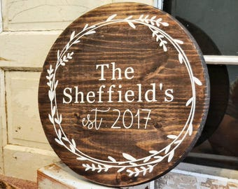 Round Fully Customizable Family Name Sign