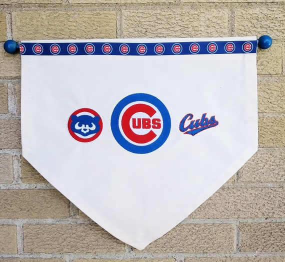 1f74bd184888 Chicago Cubs Canvas Embroidered Banner Door Wreath | Etsy