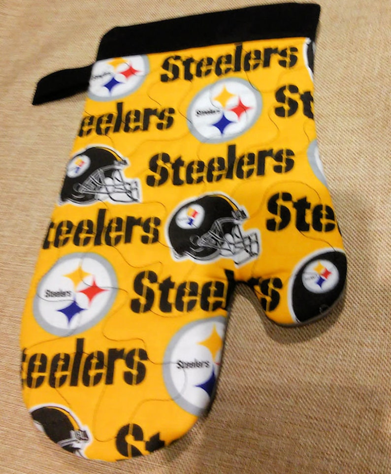 51d47b6a Fathers Day Gift Pittsburgh Steelers - Kitchen Oven Mitt - BBQ Mitt  Handmade Unisex Quilted Choose Right or Left Hand / Set of both