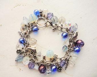 Winter wonderland bracelet, Ice Blue bracelet, Silver bracelet