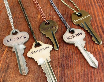 Key Necklace, Hand Stamped Keys, Personalized Giving Necklace, Unique Custom Gift Idea Featuring Upcycled Repurposed Keys
