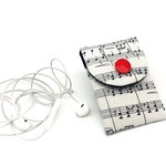Music Note Earbud Case, Small Headphone Case, Padded Earphone Pouch, Music Lover Gift, Mini Makeup Pouch, Cosmetic Pouch, Gift for women