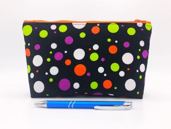 44e5cb5466 Polka Dot Zipper Pouch Black Cosmetic Case Orange Makeup