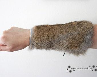 Brown Fur Bracer, Viking Costume Cosplay Larp Bracer