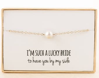 Bridesmaid Gift (Single Freshwater Pearl Gold Bracelet)