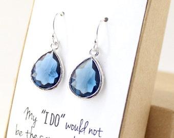 Navy Blue / Silver Teardrop Earrings - Montana Blue Drop Earrings - Bridesmaid Gift Jewelry - Navy and Sterling Silver Earrings - EB1