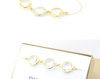 Clear Crystal / Gold Triple Circle Bracelet - Gold Bridesmaid Gift - Clear Crystal Jewelry - Bridesmaid Bracelet - Wedding Jewelry - BB3