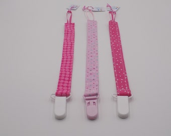 Pink Dots Pacifier Clip Set