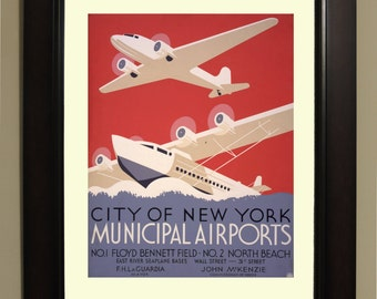 New York Municipal Airports WPA Poster - 3 sizes available, one price.