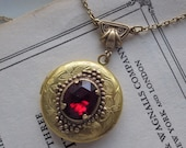 Art Deco Style Garnet Locket Art Nouveau Necklace Pendant Vintage Glass January Birthstone By LadyofTheLakeJewels