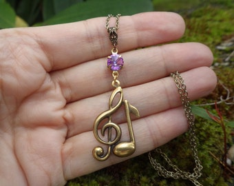 Treble Clef Necklace ~ Pendant ~ Music Note ~ Swarovski Crystal ~ Composer ~ by LadyofTheLakeJewels