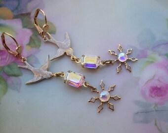 Snowbird Earrings ~ Long Bird Earrings ~ Snowflake Earrings ~ Swarovski Crystal ~ Winter Ball ~ Long Dangles - by LadyofTheLakeJewels