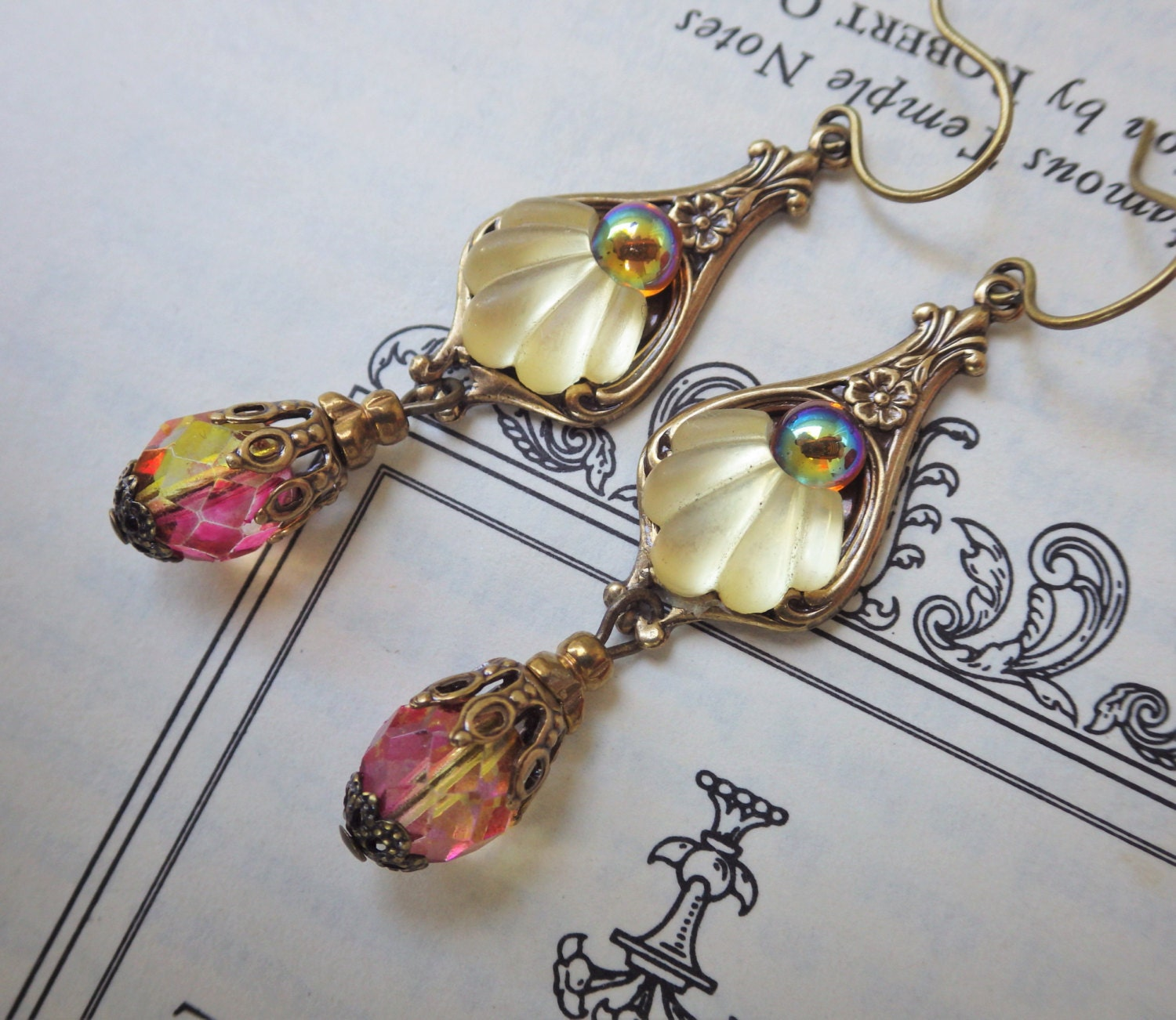 Art Deco Earrings Yellow Topaz Earrings Vintage Glass Etsy