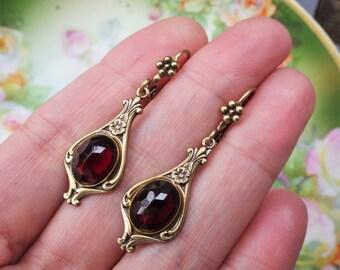 Art Deco Earrings ~ Garnet Marsala ~ Vintage Glass ~ Victorian Garnet Earrings ~ Small Dangles ~  by LadyofTheLakeJewels