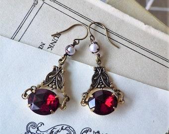 Garnet Pearl Earrings ~ Vintage Glass ~  Victorian Style ~  Crimson Red ~ Dangle Earrings  ~ by LadyofTheLakeJewels