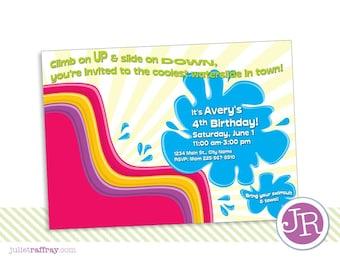 Inflatable Slide Fun Birthday Invitation