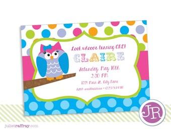 Colorful Owl Birthday Invitation