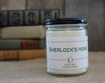 Sherlock's Home - Book Inspired Scented Soy Candles -  8oz glass jar