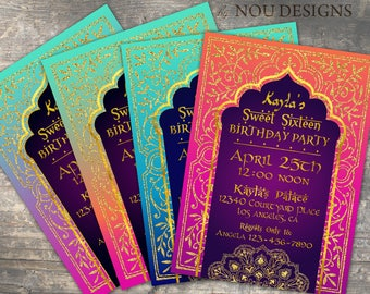 2707eb47ee1 Arabian Nights Bollywood Theme Birthday Invitation Card and Coordinating  Items - Printable File
