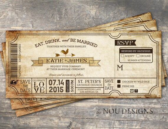 Vintage Boarding Pass Ticket Country Western Bridal Shower Or Etsy