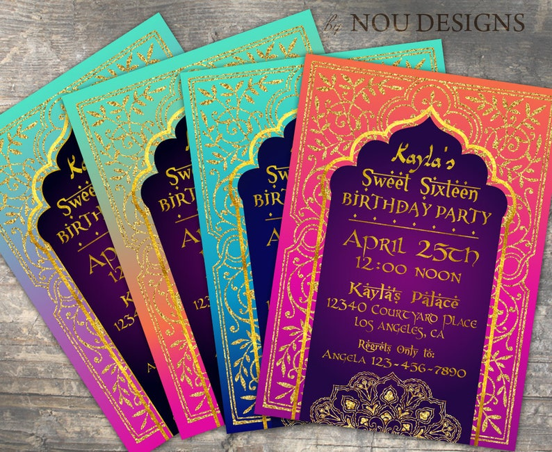 Arabian Nights Bollywood Theme Birthday Invitation Card And Coordinating Items