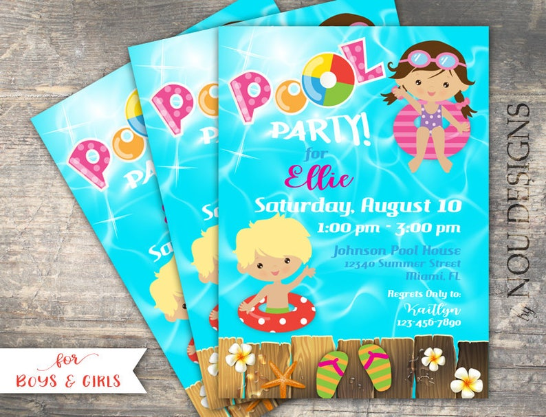 Pool Party Birthday Invitation Card Printable File