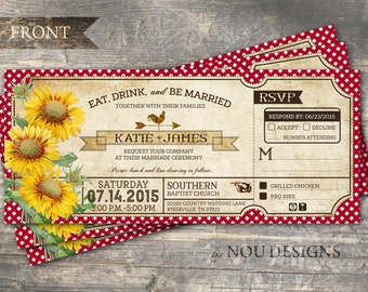 Sunflowers, Gingham Check, and Rooster Country Picnic Bridal Shower or Wedding Invitation Card- Printable File