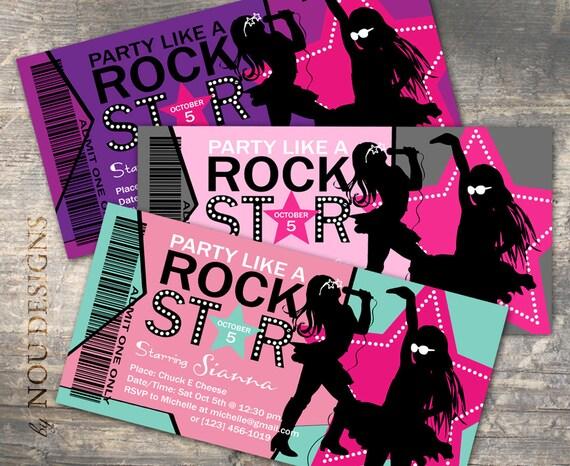 Tarjeta De Invitación De Cumpleaños De La Estrella De Rock De La Niña Tarjeta De Agradecimiento Pase Vip Tarjeta De Tienda Y O Etiquetas De