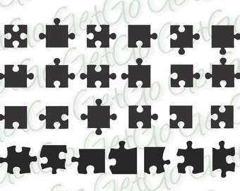 Puzzle Pieces Shapes Icons Clipart Cricut Silhouette Printable Vectors Svg Dxf Jpg Eps Png Instant Download