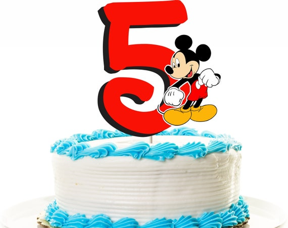 Astonishing Mickey Mouse Cake Topper 5Th Birthday Topper Or Centerpiece Etsy Funny Birthday Cards Online Aboleapandamsfinfo