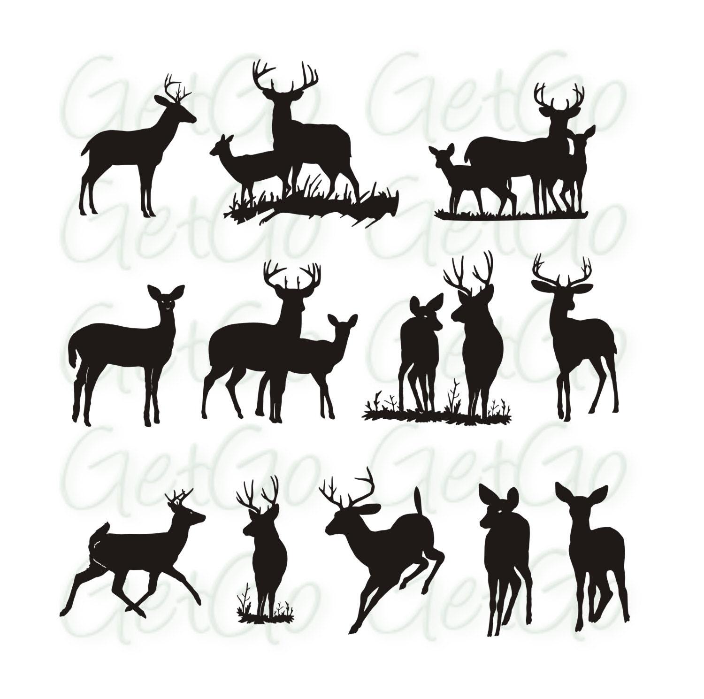 Deer silhouette Printable Graphic Artwork Clip Art Vector ...