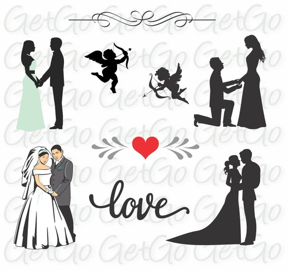 Wedding Icons And Bride And Groom Silhouettes Clipart Cricut Etsy
