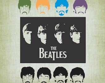 The Beatles SVG, John Paul George Ringo; The Beatles SVG Clipart; Cricut cutting files and Printable Vectors; Svg, Dxf, Jpg, Eps, Png