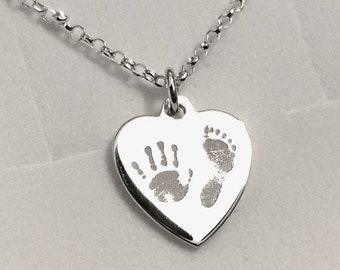 Handprint and Footprint Necklace, Sterling Silver Engraved Handprint Heart Necklace Sterling Silver. Two prints. Gift Boxed Free Delivery.