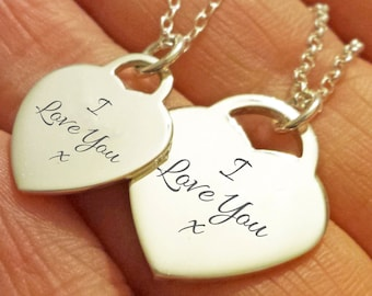 I Love You Necklace - Sterling Silver I love you necklace girlfriend gift heart pendant engraved