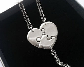 3 Best Friend Necklace, Sterling Silver Sister Necklace , Personalised Gift, 3 Piece Puzzle Heart, Three Best Friend, Best Friends Jewelry 3