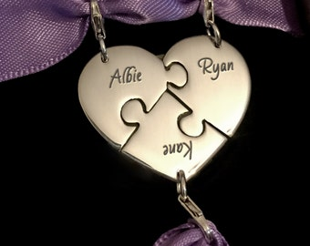 Engraved Best Friend Charms, Personalized Puzzle Jewelry, Best Friend Jewelry, Bridesmaid Charms Silver