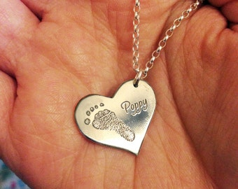 Silver Mothers Necklace - Real Footprint, Sterling Silver Mothers Day Necklace