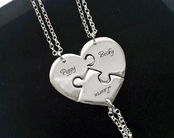 Family Name Necklace For 3 Sterling Silver Puzzle Piece Necklaces