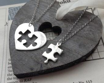 Best Friend Necklace Sister Necklaces puzzle piece necklace