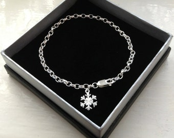 Snowflake Bracelet Sterling Silver - Limited Edition Snowflake Charm Bracelet