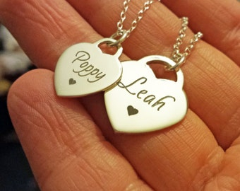 Personalised Heart Necklace Sterling Silver Engraved