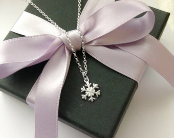 Silver Snowflake Necklace - Sterling Silver Snowflake Necklace, Snowflake Jewelry, Christmas Necklace, Christmas Jewelry