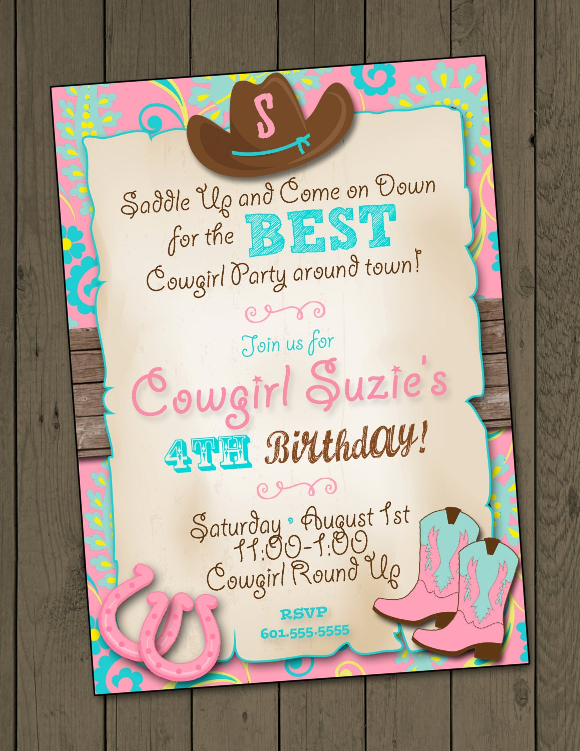 Cowgirl Invitation Cowgirl Birthday Party Invitation Cowgirl | Etsy
