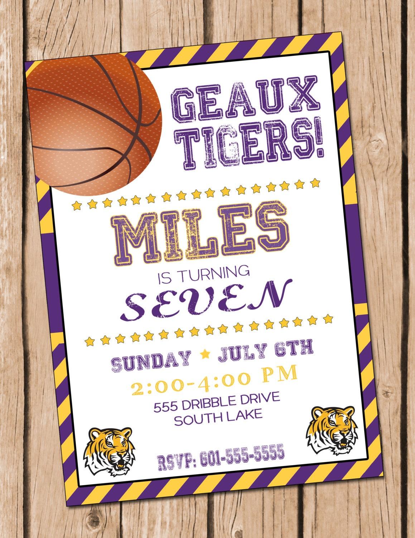 Basketball Birthday Invitation LSU Basketball Party Basketball | Etsy
